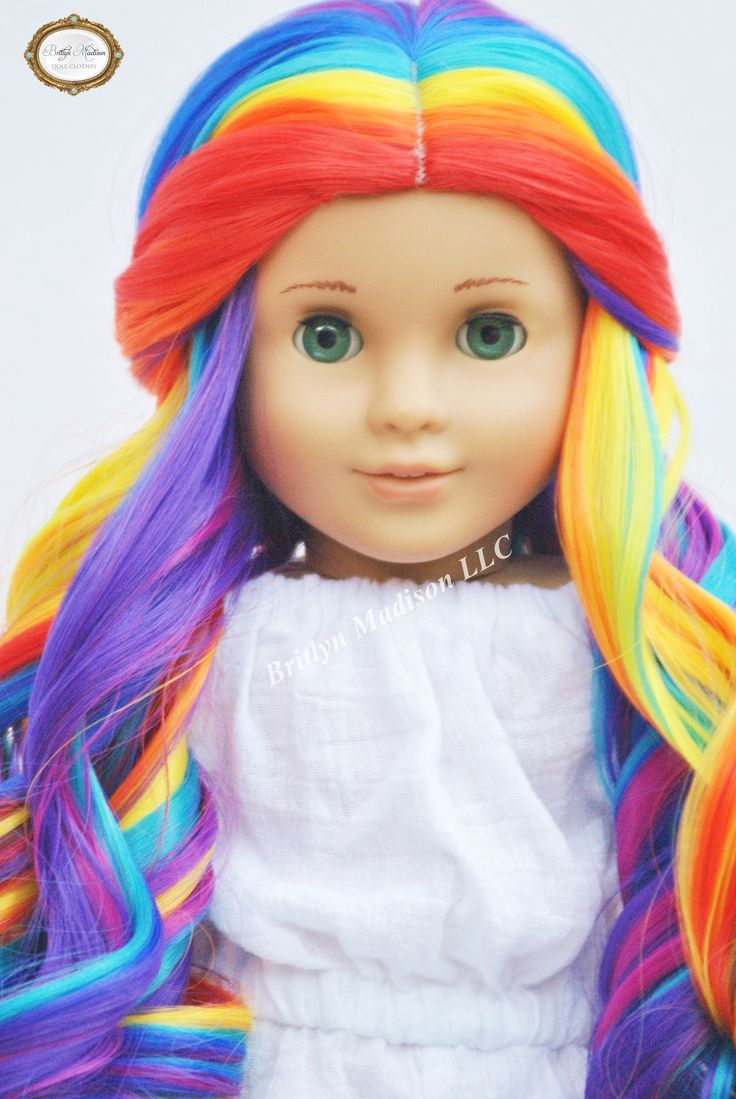 "This is one of our newest designs in our Premium Custom American girl Doll Wig Line for 18 inch dolls. Size 10-11 ""Rainbow Prism"" premium wig is approximately"