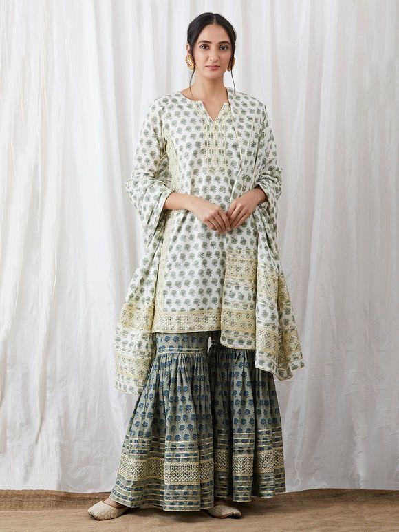 21af38fb13 White Green Hand Block Printed Cotton Gharara Suit - Set of 3   Block Print  in 2019   Neck designs for suits, Indian designer wear, Sharara designs
