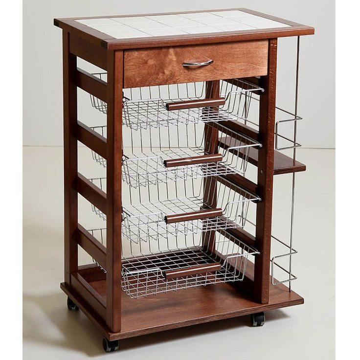 Wooden kitchen trolley bottle holder with small drawer - Ambrogio Chef de Vin