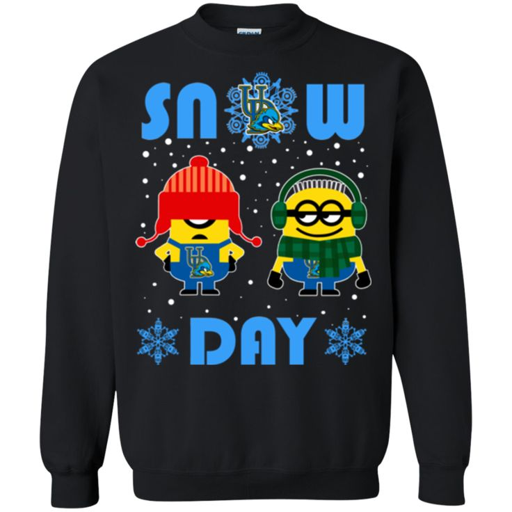 Minion Delaware Fightin' Blue Hens Ugly Christmas Sweaters Snow Day Snowflake Sweatshirts