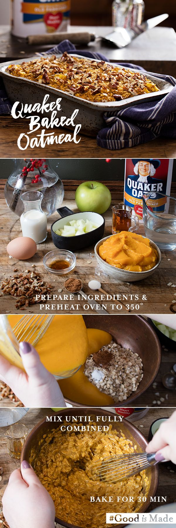 A little bit of pecan will be the star of your breakfast table. Quaker® Oat's Pumpkin Apple Pecan Baked Oatmeal has a sweet flavor with smooth texture. The best part? It serves up to 6 people and you can freeze to store for a future breakfast.