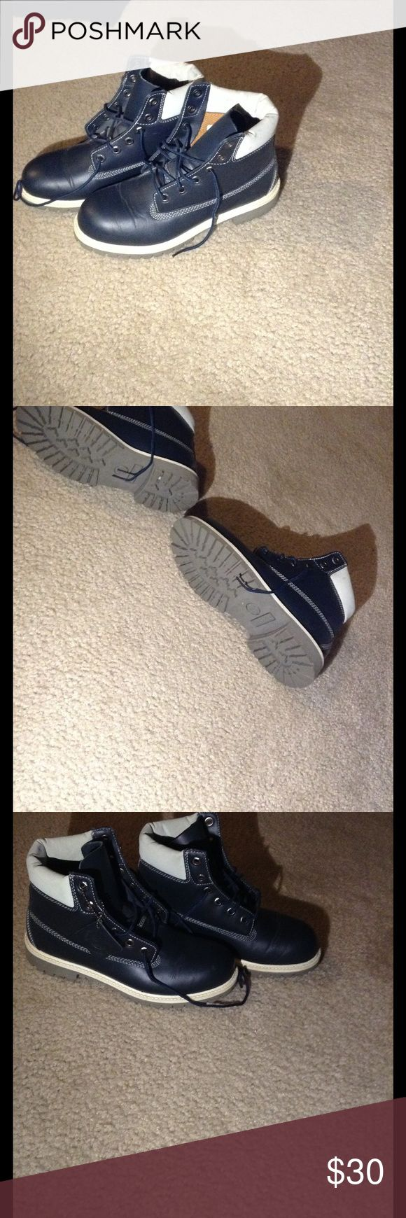 Blue and white timberland boots Used boots. Good condition. Timberland Shoes Boots