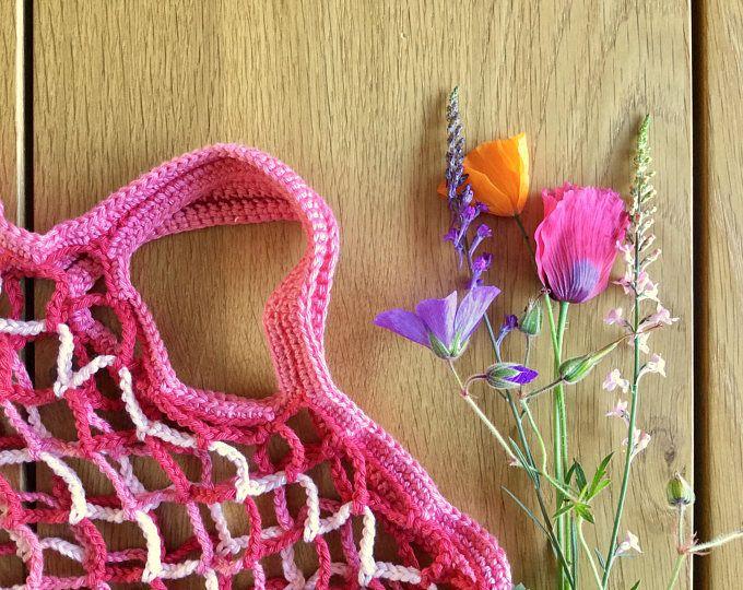 Gehaakte tas, Boodschappennet, Markttas, Strandtas, Rood en roze zomer tas van katoen, Cadeau voor hip meisje dat van roze houdt