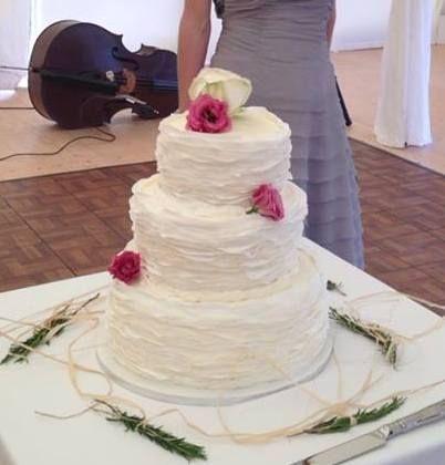Wafer-thin ruffles, delicate wedding cake.