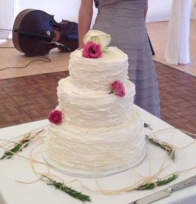 Wafer-thin ruffles, delicate wedding cake.