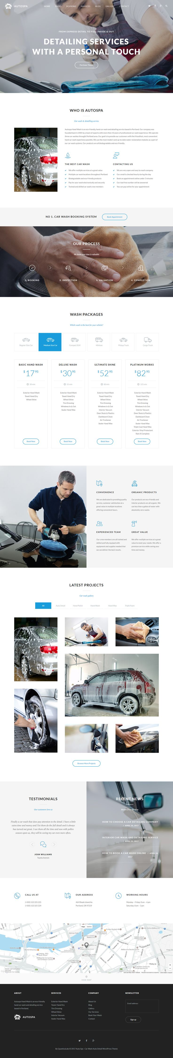 Auto Spa is a responsive and retina WordPress Theme best suitable for car wash or auto detail services. The Theme comes with car wash booking system.