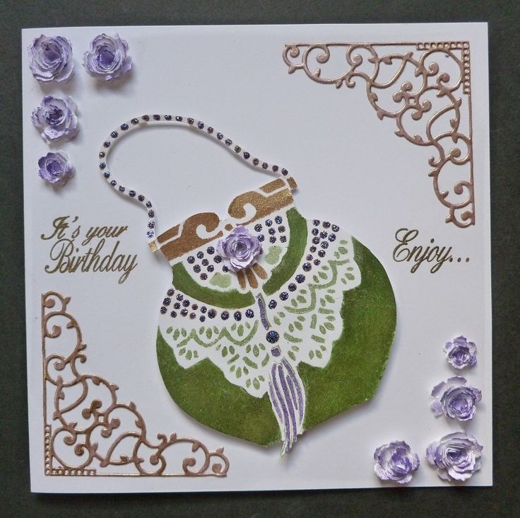 'Evening Bag Special' card - Imagination Craft's- Detail Gold Embossing Powder.  Clear embossing pad.  Structure paste.  Metal spatula.  Magi-bond glue.   Bag stencil.  Starlight paints - Green, Menthol, Antique gold & Amethyst.  Sizzix rose dies.  Intricut corner die.   July 2017.   Designed by Jennifer Johnston.