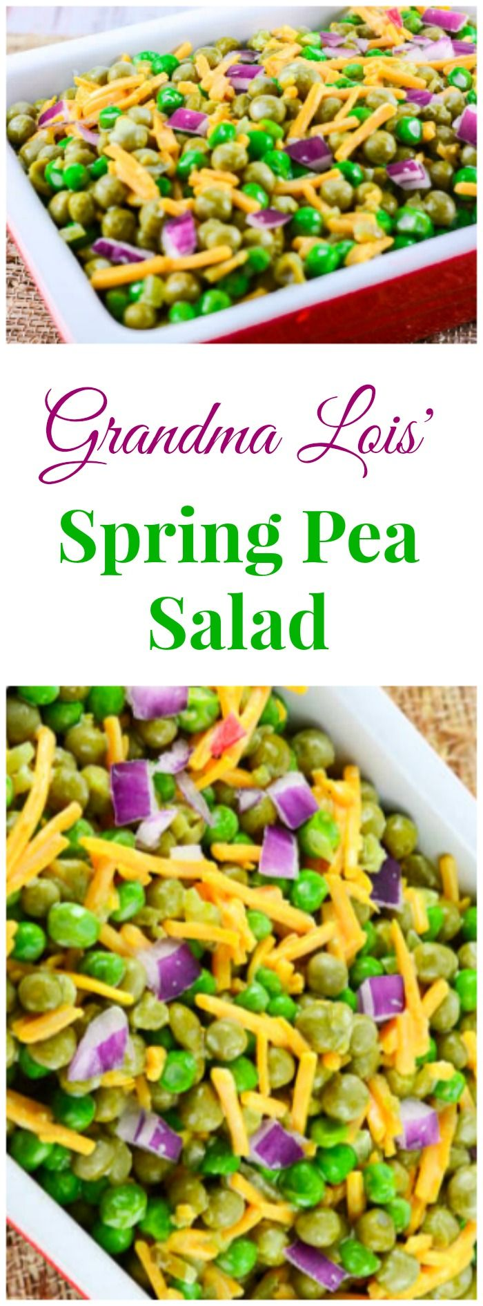 Grandma Lois' Spring Pea Salad is a perfect side dish for a family holiday dinner table for Easter or any time. ~ http://FlavorMosaic.com