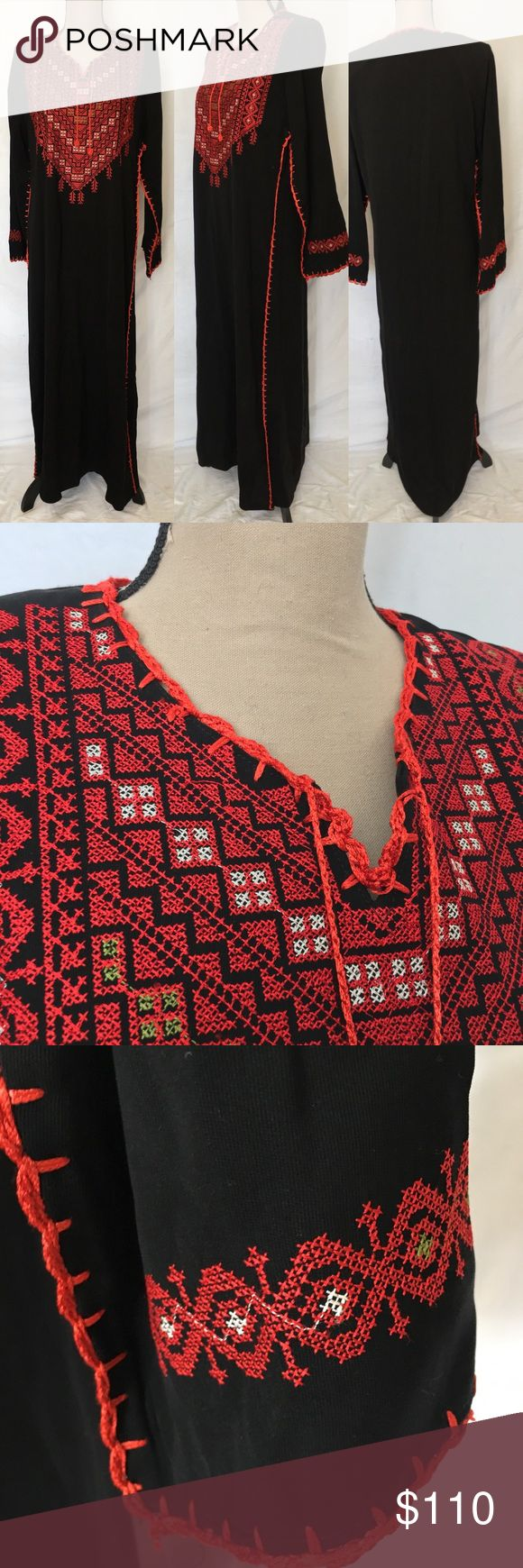 """Embroidered Boho Peasant Long Kaftan Maxi Dress Embroidered Boho Peasant Black Red Long Kaftan Maxi Dress Womens Medium  Purchased on a vacation and never used. Paid over $200. No markers label or sizing.  Quality material - feels like a wool blend but not itchy. Embroidered yoke and cuffs.  Has shoulder pads which could be easily removed by buyer.  Please review measurements below carefully prior to purchasing:  LENGTH 54"""" HIPS 42"""" all around  UNDERARM TO UNDERARM 21"""" SLEEVES 24"""" Dresses…"""