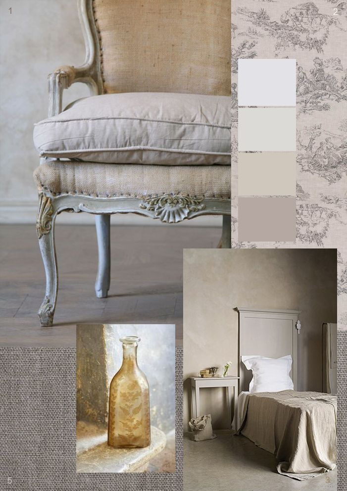 Romantic rustic French inspiration - wonderful linen chair and Cote Bastide bed and Cabbages and Roses toile