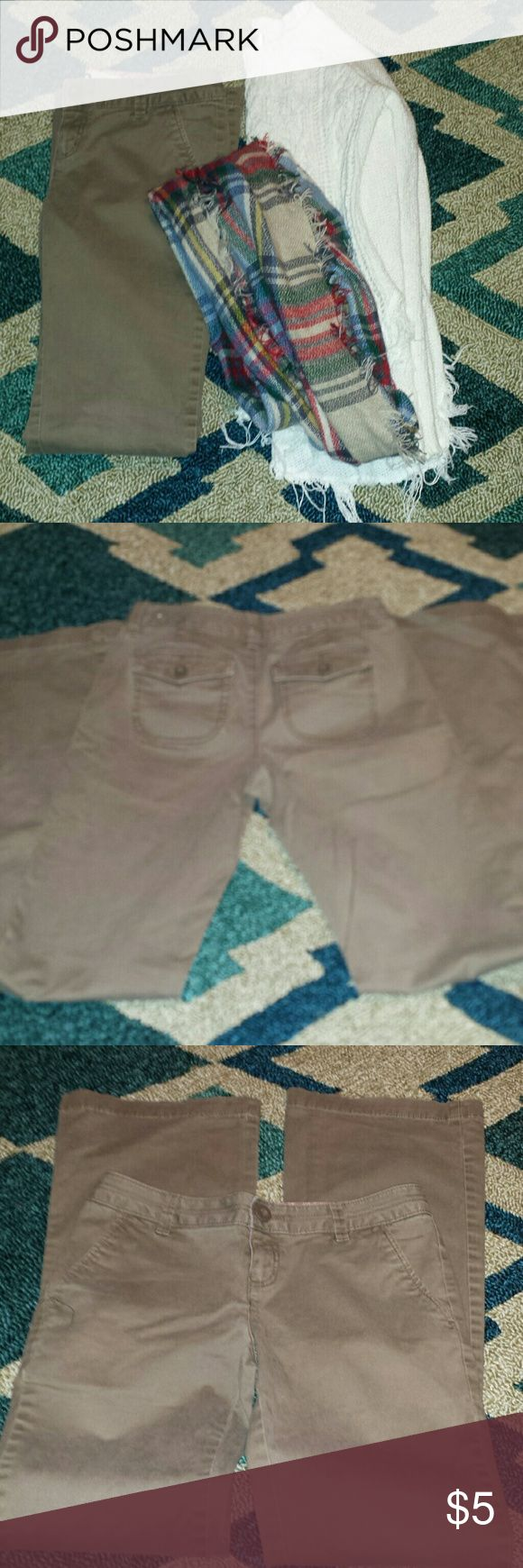 SO BRAND  DARK TAUPE KHAKI PANTS Super cute taupe dark khakis. Size 3 in juniors. Lots of life left I just don't wear them anymore. Wider flare leg bottom. Smoke free home. I ship fast and bundle. Pants only for sale in this listing. SO Pants Boot Cut & Flare