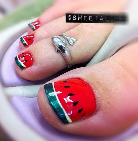 Cute Watermelon pedi toenails nail art design..