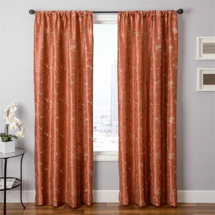 cleopatria in rust pumpkin orange color embroidery pattern with flowers and vines in standard - Rust Color Curtains