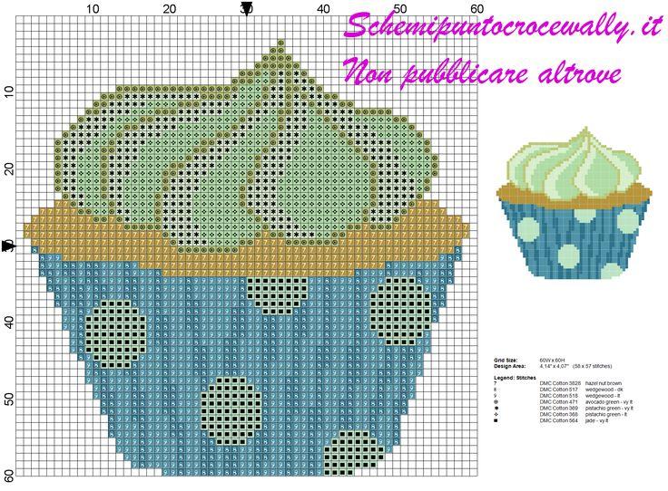 schema punto croce cupcake al pistacchio
