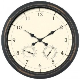 24-inch Black Outdoor Clock with Thermometer and Humidity | AcuRite