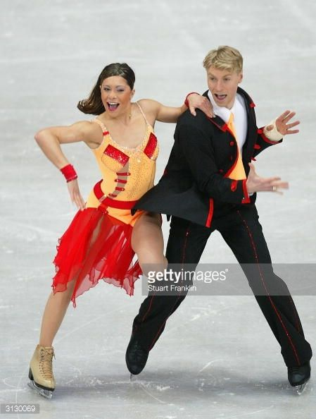 DORTMUND, GERMANY - MARCH 25: Isabelle Delobel and Olivier Schoenfelder of France in action during the original ice dance section at The 2004 World Figure Skating championships at Westfalenhalle March 25, 2004 in Dortmund, Germany. (Photo by Stuart Franklin/Getty Images)