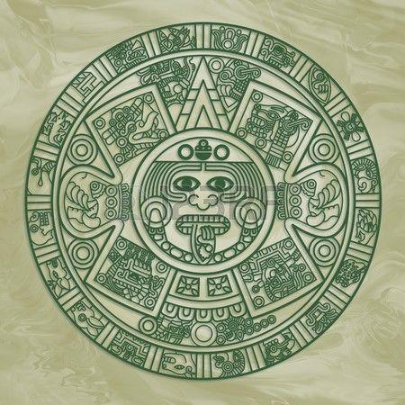 Estilizada calendario azteca en color verde  Foto de archivo