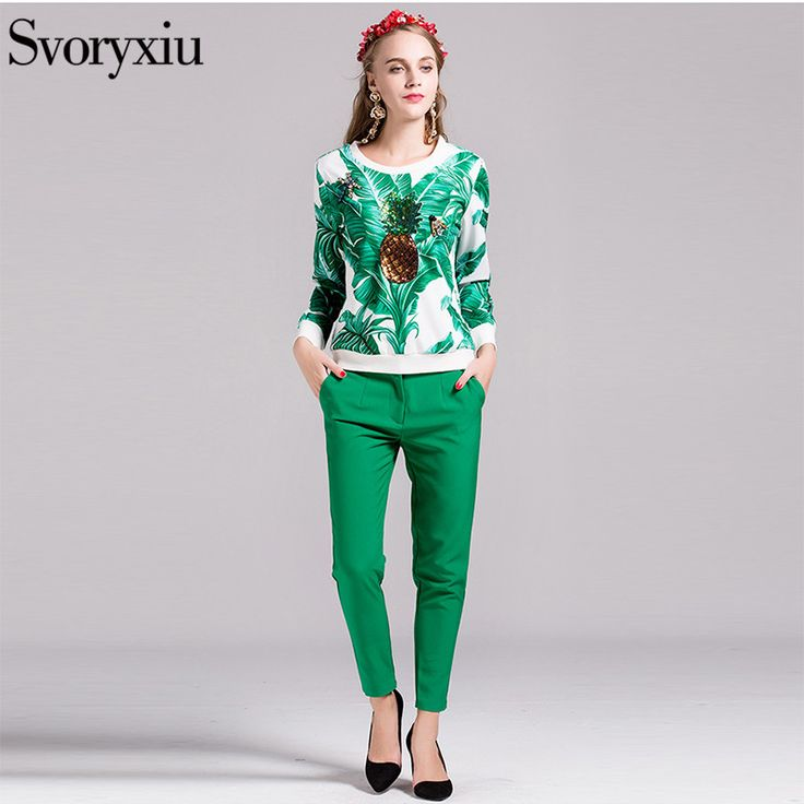 Svoryxiu High Quality 2016 Runway Designer Dress Women's Sequined Beading jacket+Suit Pants Ladies Suits