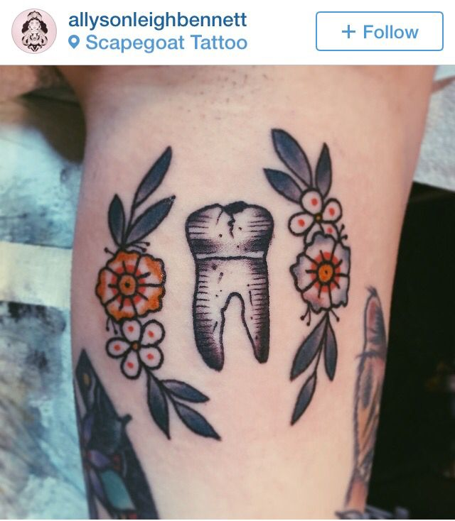 Tooth tattoo, Allyson Bennett                                                                                                                                                                                 More