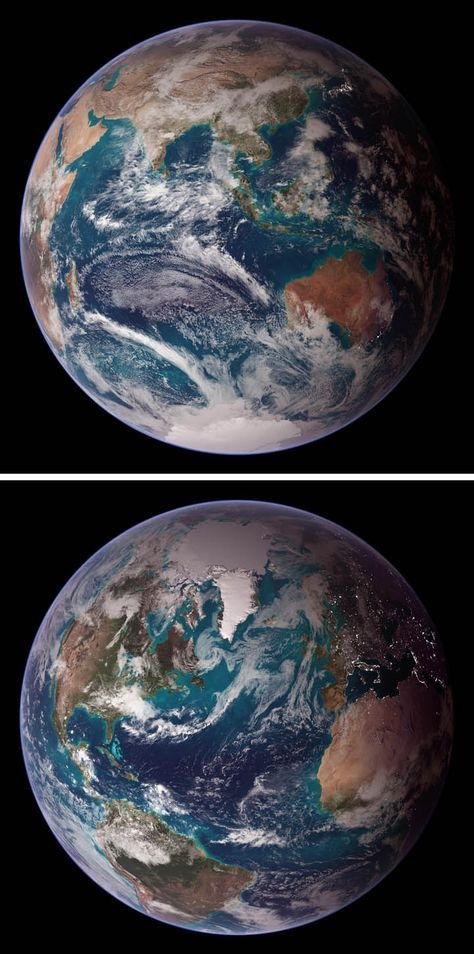 Another pair of Blue Marble images from NASA. Our planet sure is purty.