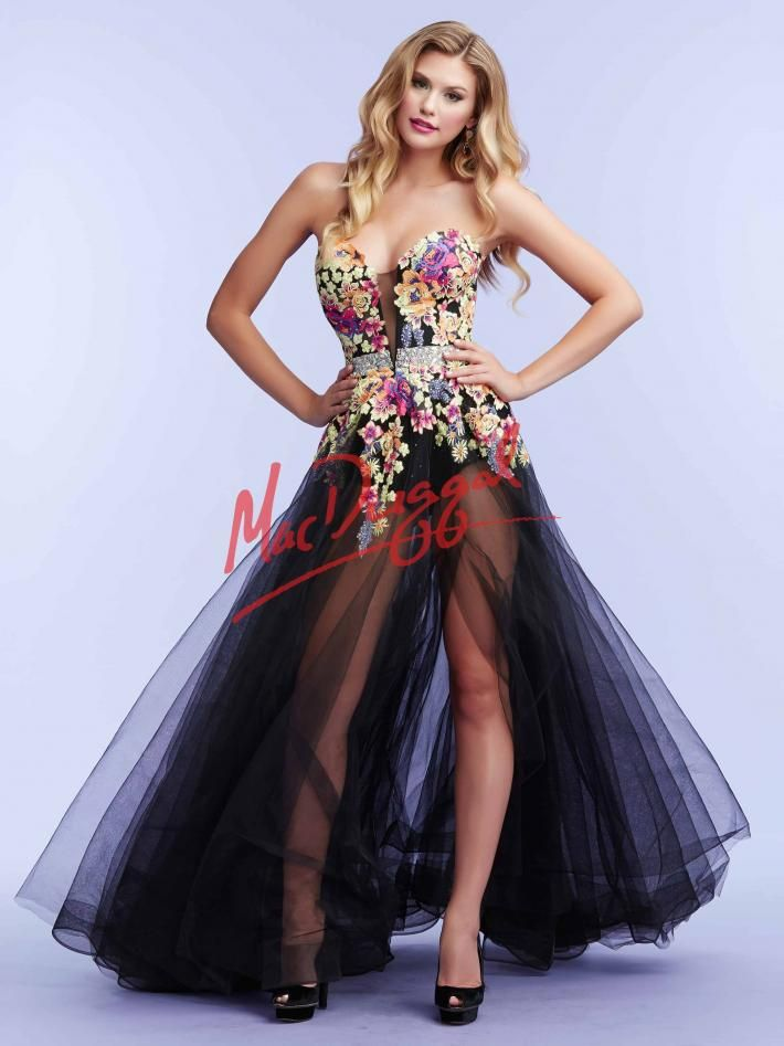 Black Hot Pants With Overlay Skirt Floral Prom Dress
