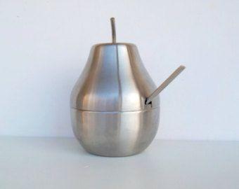 Zuccheriera in acciaio inossidabile, acciaio inox pera, zuccheriera pera, zuccheriera metallo, usura del tavolo a forma di pera