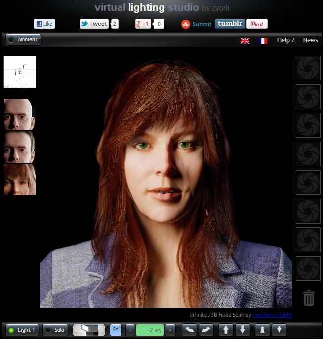 Virtual Lighting Studio - Interactive portrait lighting - Incredible!  - Just like using various lights and methods in a studio!  Great for learning lighting setups!