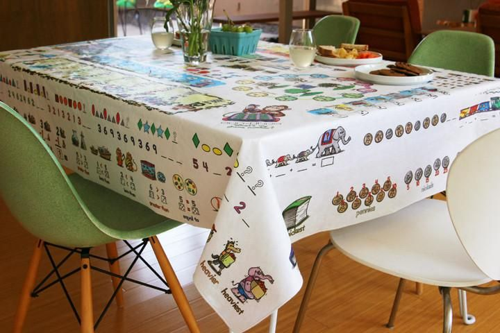 "Filled with fun cartoon characters, the ""Mostly Math"" tablecloth keeps children entertained as they learn at the table. Makes meal-time fun & educational, too!"