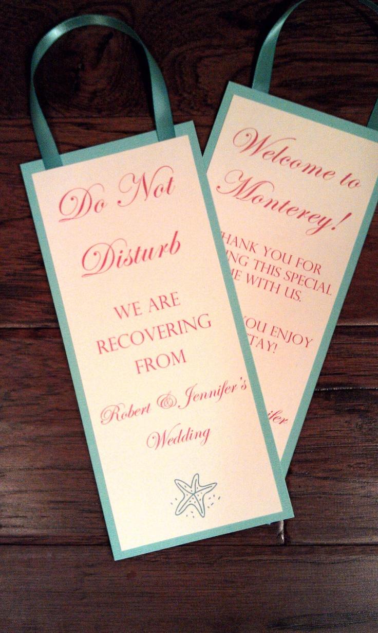 25 best ideas about wedding door hangers on pinterest wedding welcome baskets welcome gifts - Diy do not disturb door hanger ...