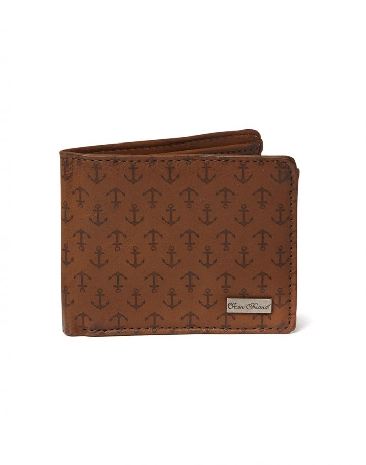 Icon Brand Wallet with Anchor Emboss - Brown - Brown