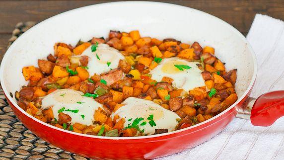 Sweet Potato Hash with Eggs   http://www.jocooks.com/breakfast-2/sweet-potato-hash-with-eggs/