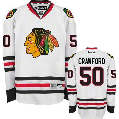 84ccf836 Corey Crawford Jersey Reebok 50 White Chicago Blackhawks Jersey ...