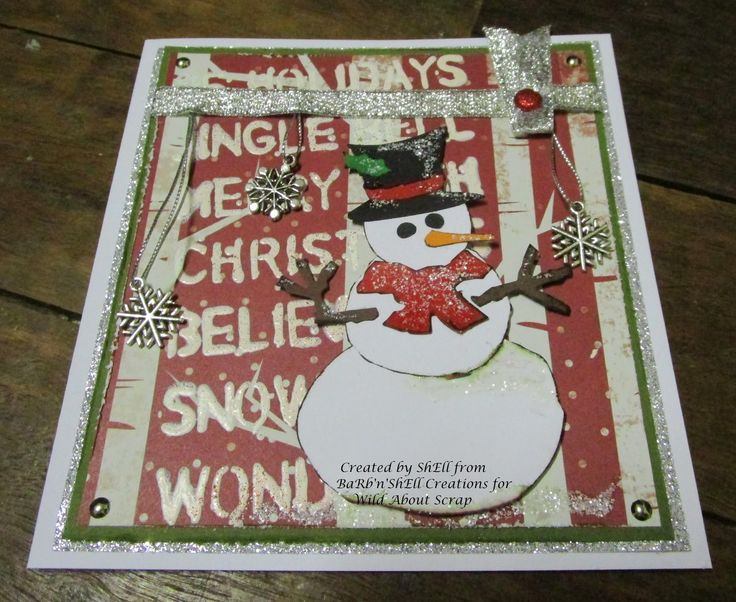 BaRb'n'ShEllcreations  - Tim Holtz Assembly Snowman Square Christmas Card - made by Shell