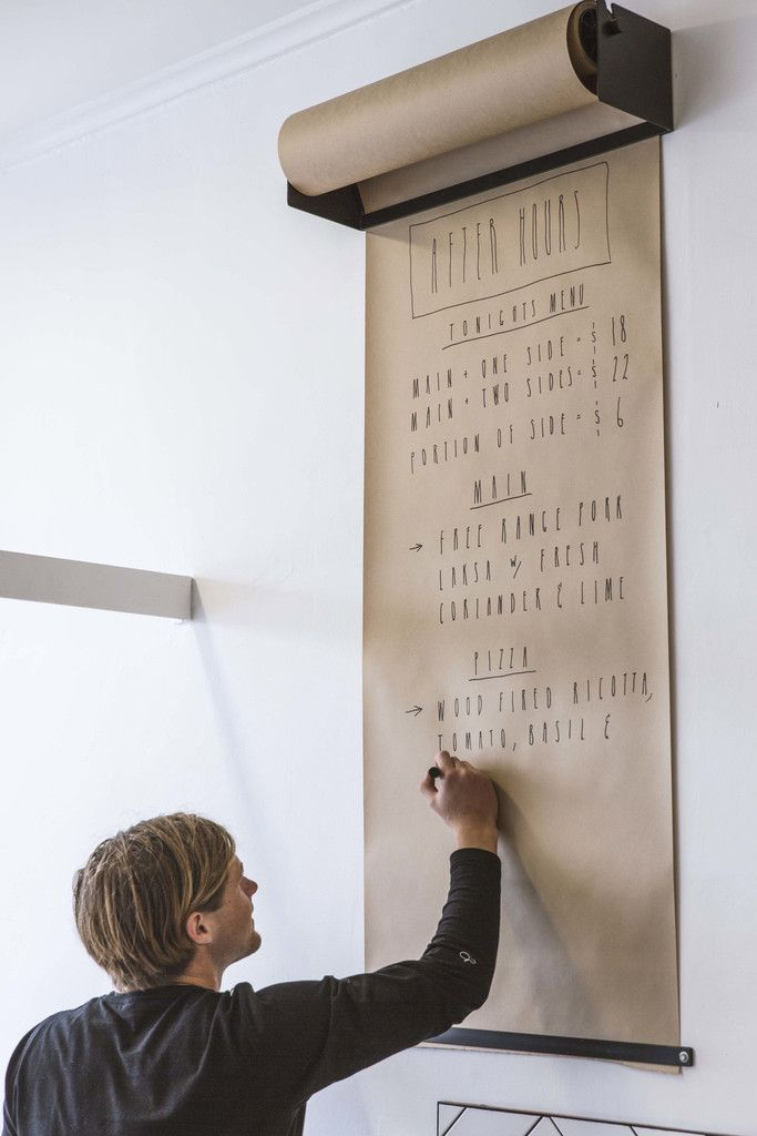 Wall mounted kraft paper roll display Studio Roller by George and Willy - www.homeworlddesign. com (1)