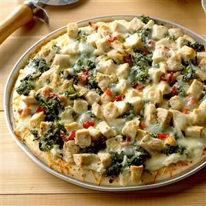 Chicken Florentine Pizza Recipe -On pizza night, we like to switch things up with this chicken and spinach version. One taste of the ricotta cheese base and you won't miss traditional sauce one bit. —Phil Corder, Monroe, Louisiana