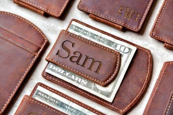 Personalized Leather Magnetic Money Clip Custom Monograme