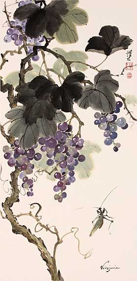 Chinese Brush Painting: grapes Praying Mantis