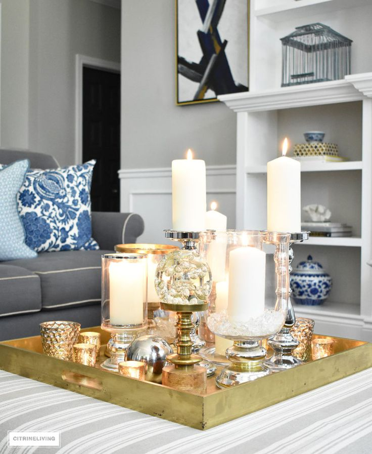 STYLE A COFFEE TABLE OR OTTOMAN 3 WAYS   Christmas coffee table decor, Coffee table decor tray ...