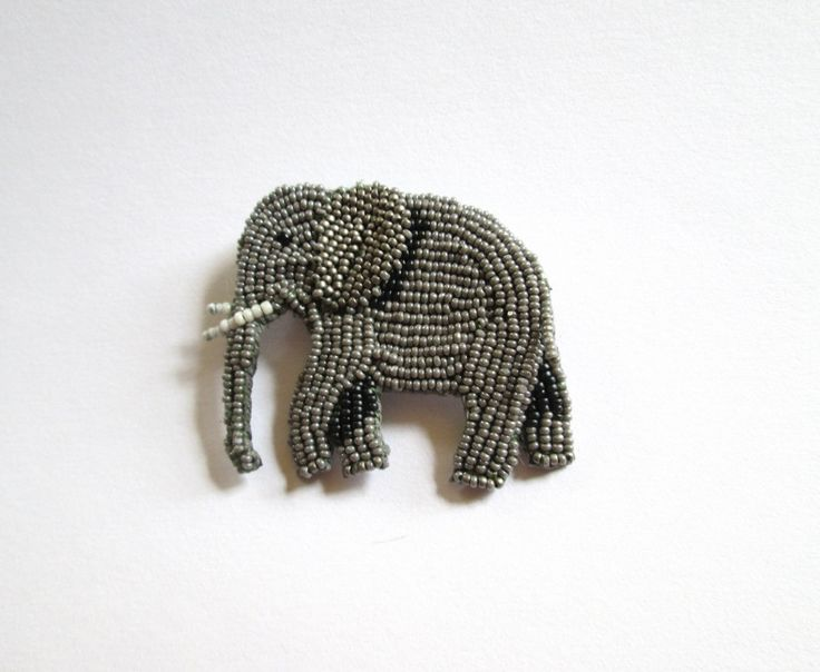 Bead Embroidery Elephant Brooch by BeadedNature on Etsy