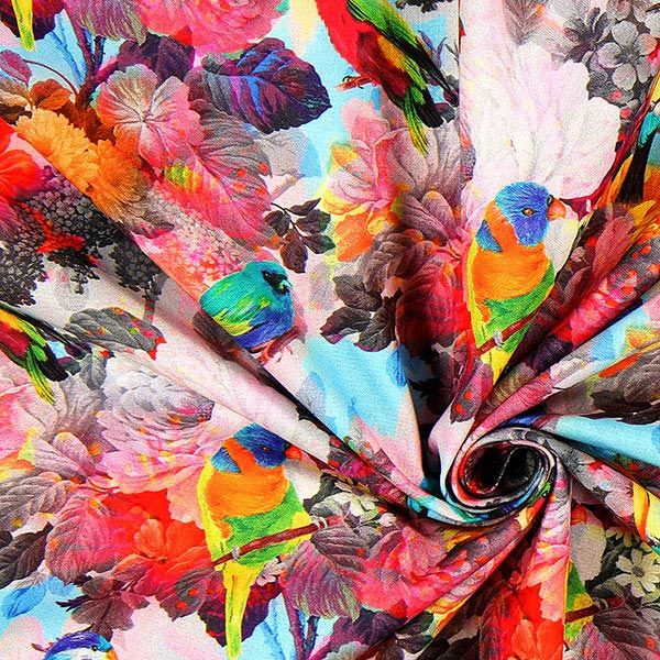 Cretonne uccelli tropicali acquerello