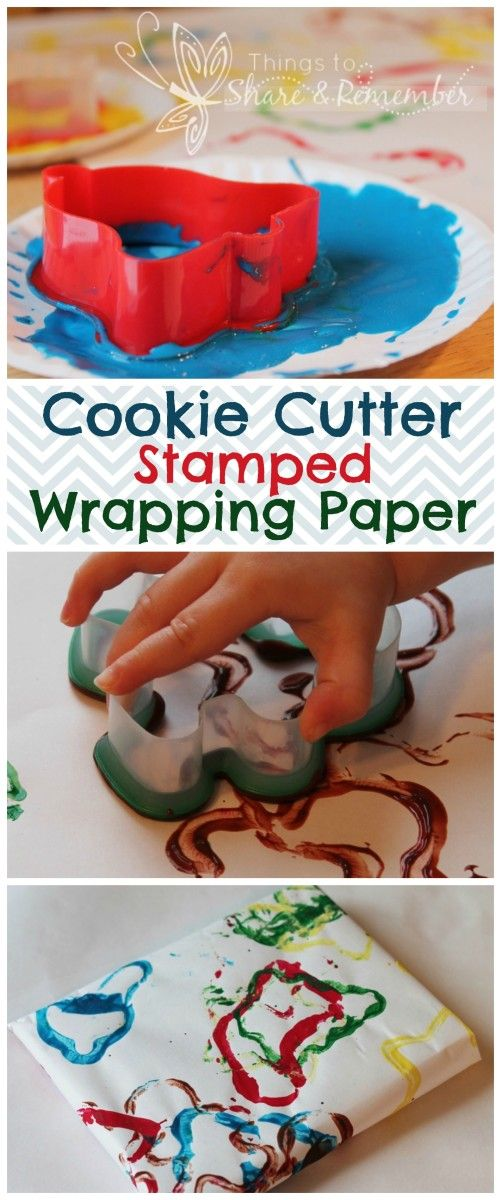 Cookie Cutter Stamped Wrapping Paper - Share & Remember. Process art for preschoolers and toddlers. Makes an adorable child made gift wrap! Click to see how to make at: http://www.thingstoshareandremember.com/
