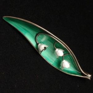 Lily of the Valley pin, sterling silver, enamel, Arne Nordlie, Norway
