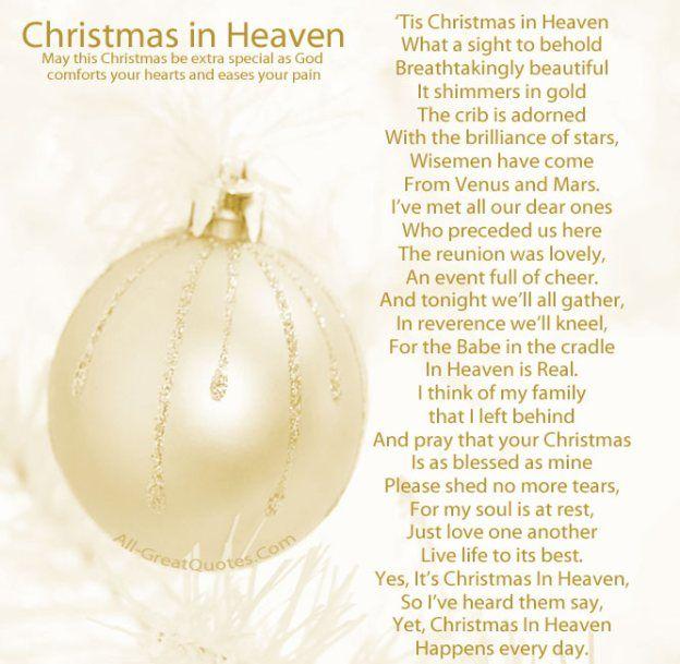 Best 25+ Christmas in heaven poem ideas on Pinterest   Christmas ...