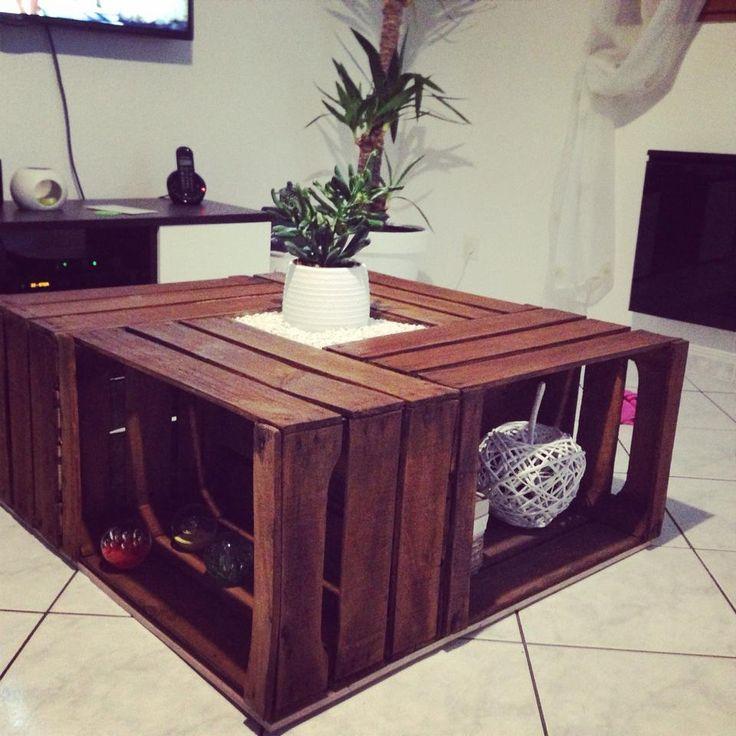 Une table basse r alis e avec des caisses vintage - Table basse caisse pomme ...
