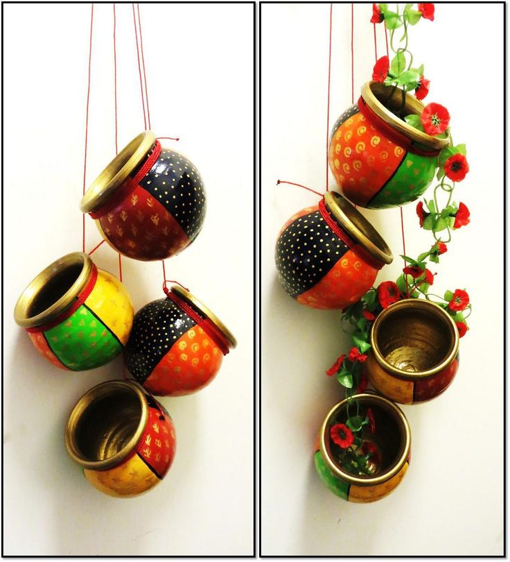 Hand painted terracotta hanging(Set of 4) for home decor.
