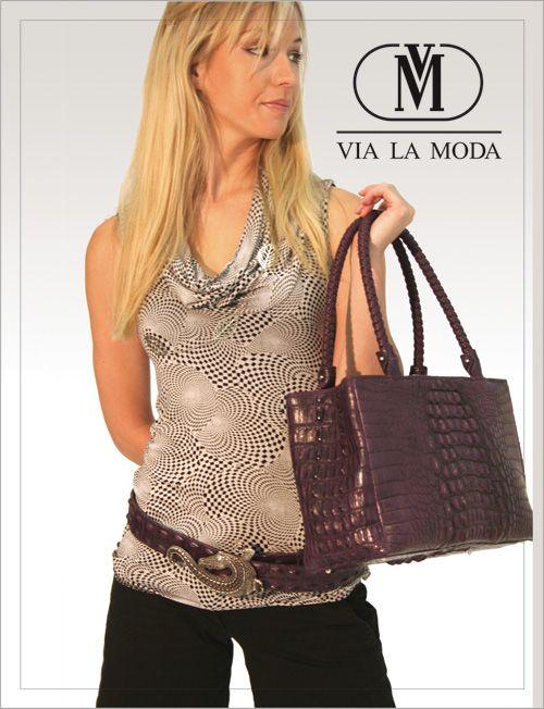 Via La Moda Showroom poster genuine crocodile horn back leather handbag and matching belt