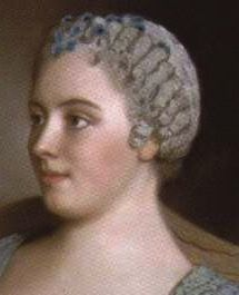 """""""The tête de mouton (or """"sheep's head"""") style was particularly popular in France in the 1750s and early 1760s. It featured defined twists of curls that were arranged in rows across the front and top of the head, and generally was powdered."""""""