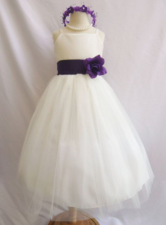 Flower Girl Dress IVORY/Purple Eggplant RB2 Wedding Children Easter Bridesmaid Communion Yellow Purple Eggplant on Etsy, $28.99