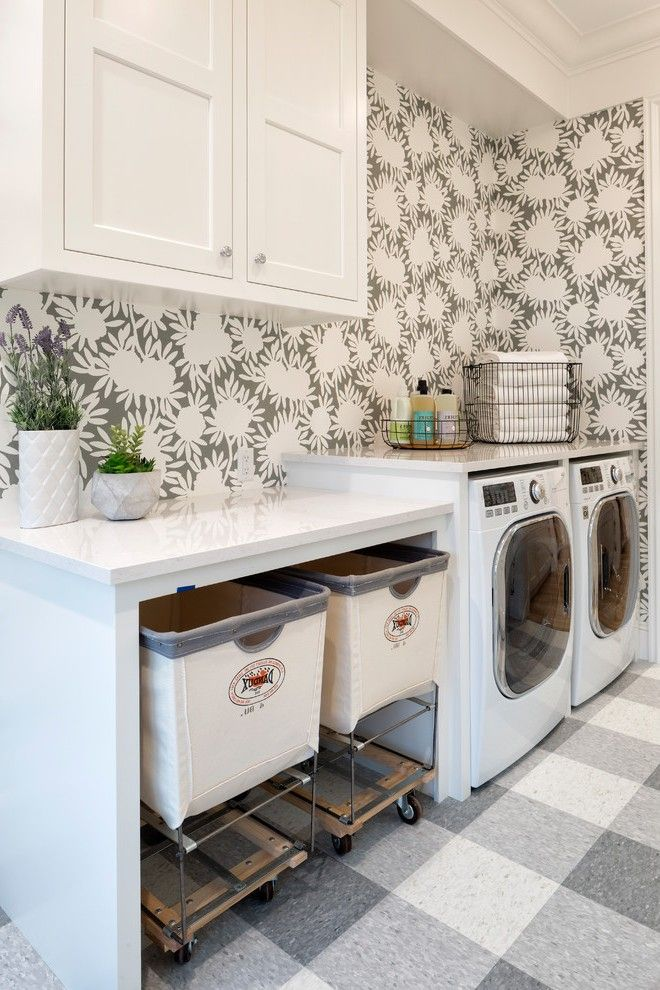 Fabulous Hidden Laundry Hamper With White Countertop Floral