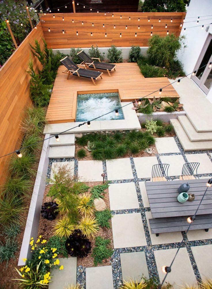 Terrassen aus Holz und mit Trittsteinen